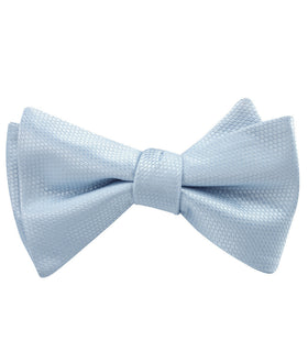 Light Blue Mist Basket Weave Self Bow Tie