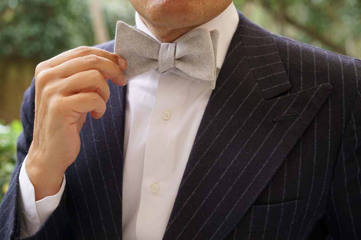 Light Grey Herringbone Linen Self Tie Bow Tie