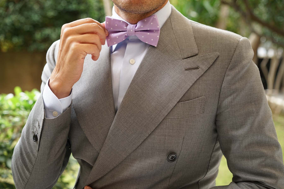 Light Purple with White Polka Dots Bow Tie