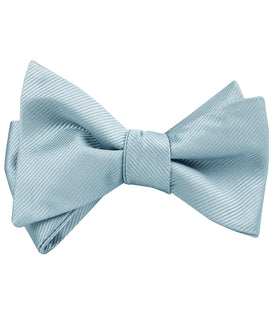 Light Silver Sage Twill Self Bow Tie
