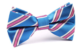 Light Blue Bow Tie with Pink Stripes