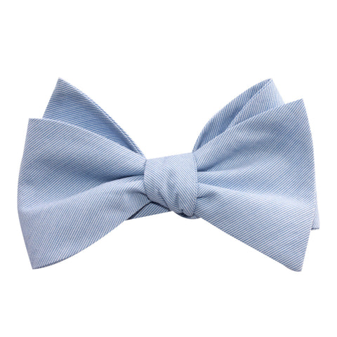 Light Blue Cotton Pinstripes Self Tie Bow Tie