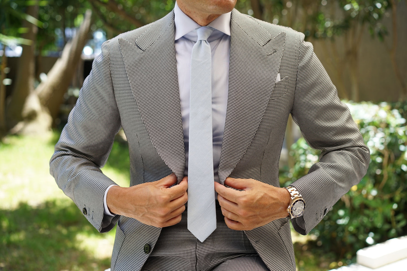 Light Blue Cotton Pinstripes Skinny Tie