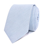 Light Blue Cotton Pinstripes Skinny Tie Front