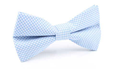 Light Blue Gingham Cotton Bow Tie