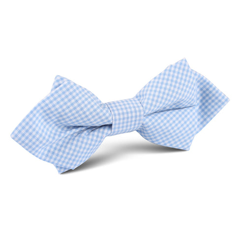 Light Blue Gingham Cotton Diamond Bow Tie