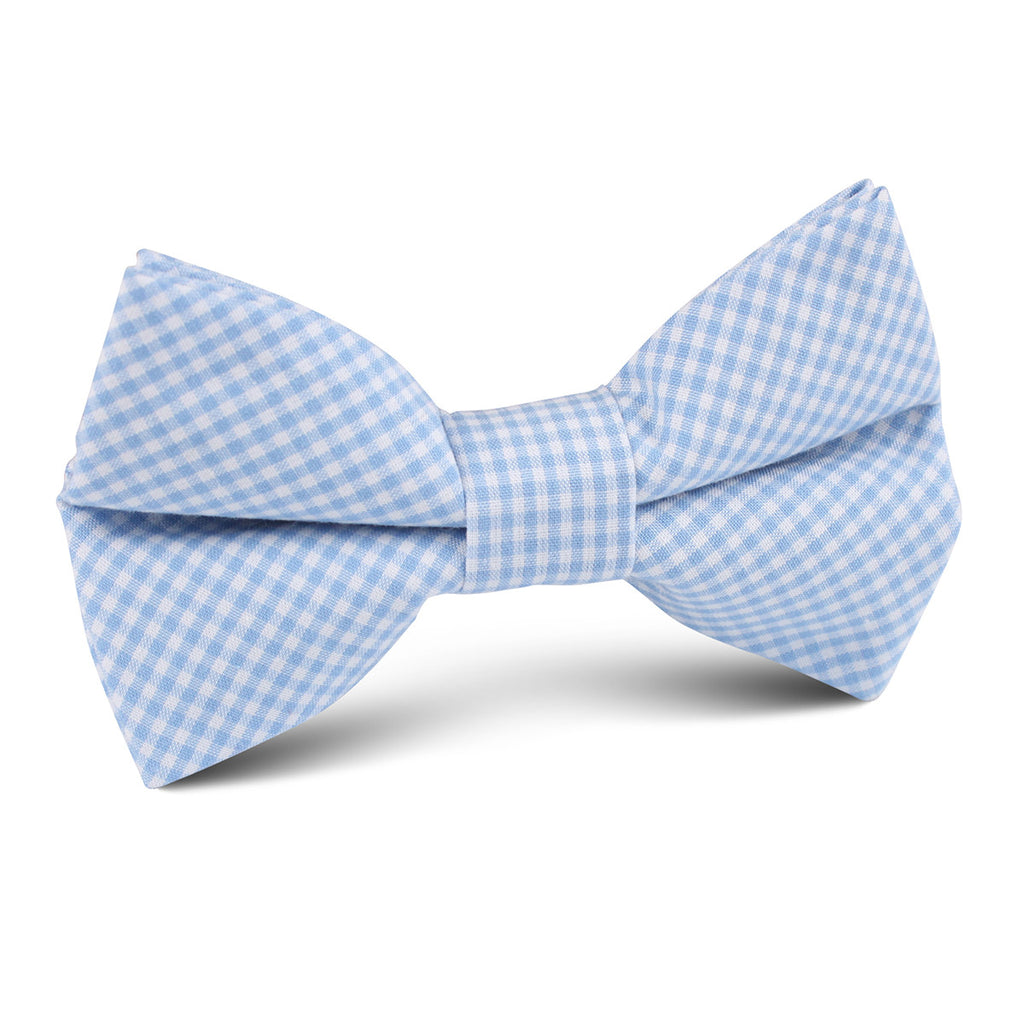 Light Blue Gingham Cotton Kids Bow Tie