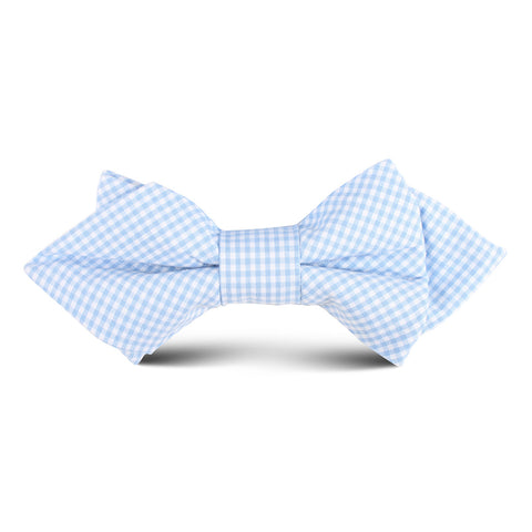 Light Blue Gingham Cotton Kids Diamond Bow Tie
