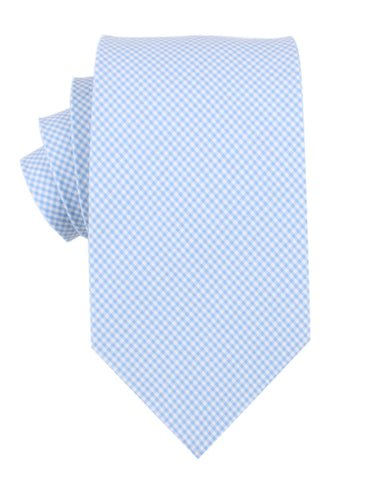 Light Blue Gingham Cotton Necktie