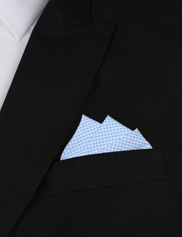 Light Blue Gingham Cotton Pocket Square