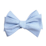Light Blue Gingham Cotton Self Tie Bow Tie 1