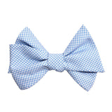 Light Blue Gingham Cotton Self Tie Bow Tie 2