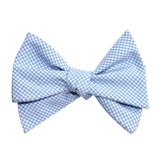 Light Blue Gingham Cotton Self Tie Bow Tie 3