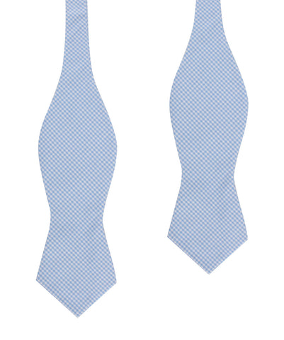 Light Blue Gingham Cotton Self Tie Diamond Bow Tie