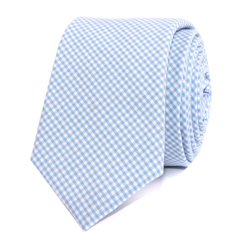 Light Blue Gingham Cotton Skinny Tie