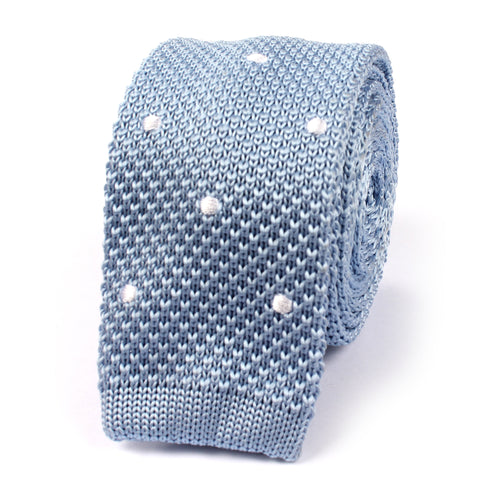 Light Blue Knitted Tie with White Polka Dots
