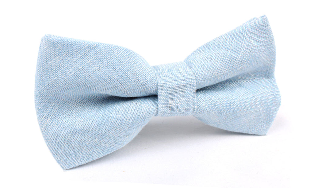 Light Blue Linen Chambray Bow Tie