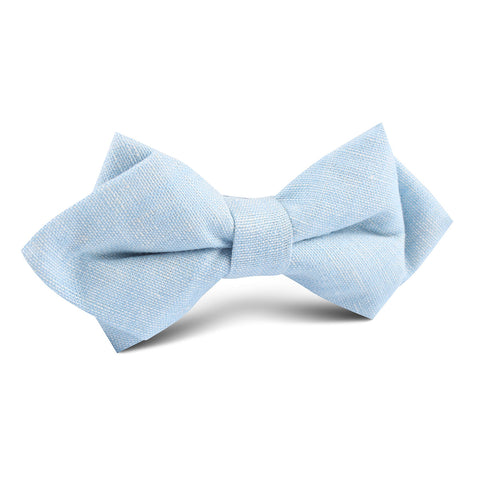 Light Blue Linen Chambray Diamond Bow Tie