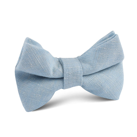 Light Blue Linen Chambray Kids Bow Tie