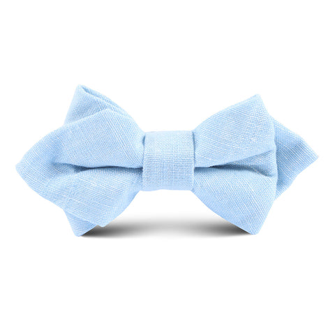 Light Blue Linen Chambray Kids Diamond Bow Tie