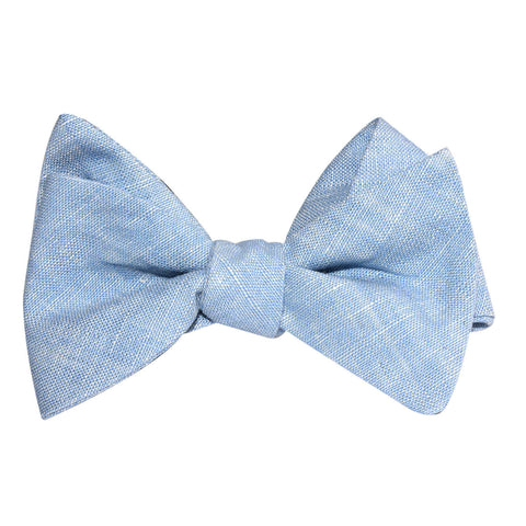 Light Blue Linen Chambray Self Tie Bow Tie