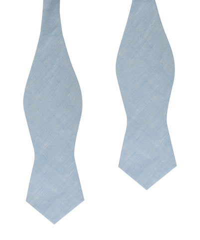 Light Blue Linen Chambray Self Tie Diamond Bow Tie