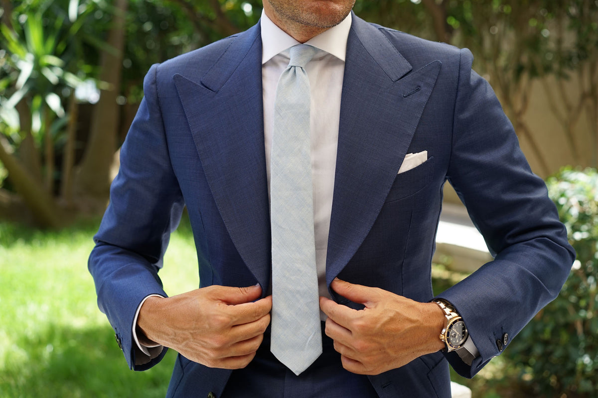 Light Blue Linen Chambray Skinny Tie
