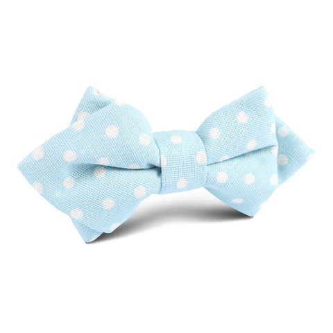 Light Blue Linen Polka Dot Diamond Bow Tie