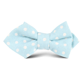 Light Blue Linen Polka Dot Kids Diamond Bow Tie