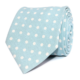 Light Blue Linen Polka Dot Necktie
