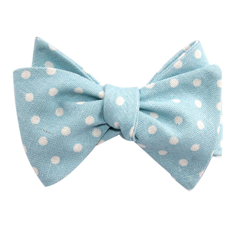 Light Blue Linen Polka Dot Self Tie Bow Tie