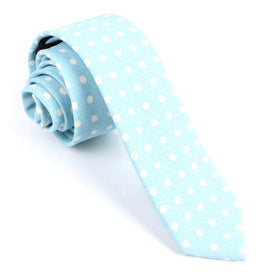 Light Blue Linen Polka Dot Skinny Tie