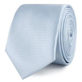 Light Blue Mist Basket Weave Skinny Tie
