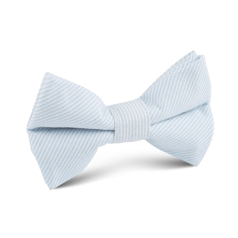 Light Blue Pinstripes Cotton Kids Bow Tie