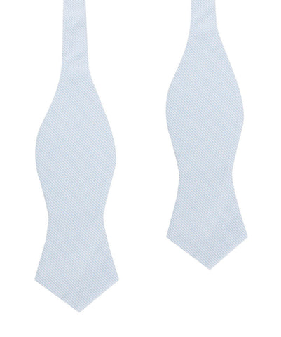 Light Blue Pinstripes Cotton Self Tie Diamond Bow Tie