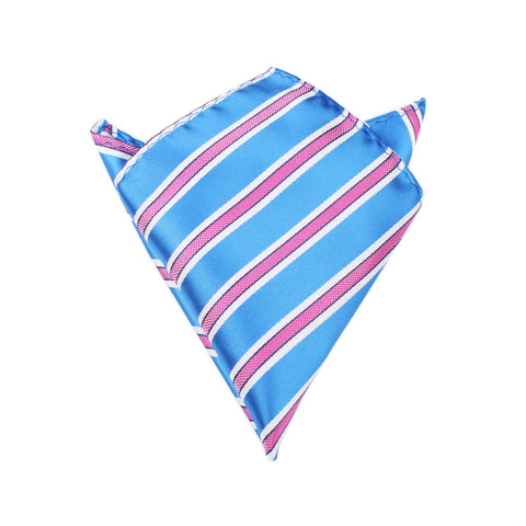 Light Blue Pocket Square with Pink Stripes