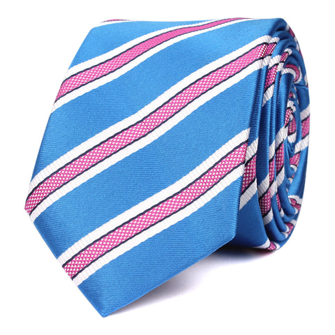 Light Blue Skinny Tie with Pink Stripes