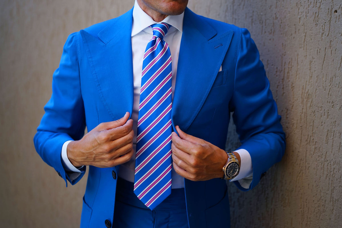 Light Blue Tie with Pink Stripes