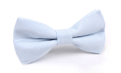 Light Blue and White Pinstripes Cotton Bow Tie