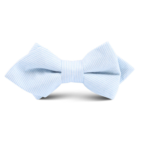 Light Blue and White Pinstripes Cotton Kids Diamond Bow Tie