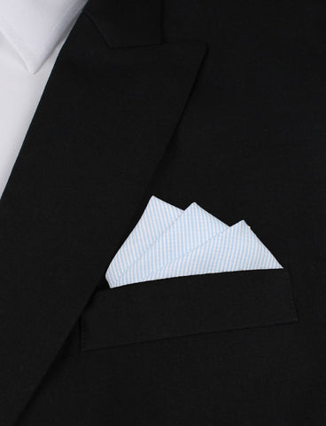 Light Blue and White Pinstripes Cotton Pocket Square