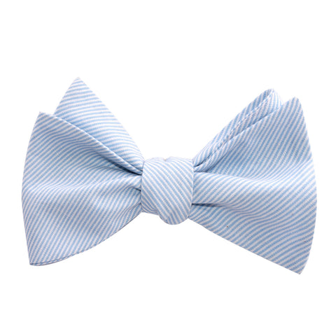 Light Blue and White Pinstripes Cotton Self Tie Bow Tie