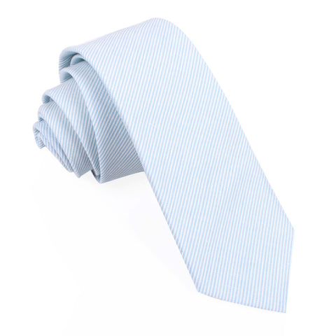 Light Blue and White Pinstripes Cotton Skinny Tie