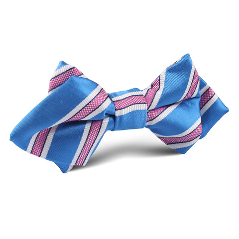 Light Blue with Pink Stripes Diamond Bow Tie