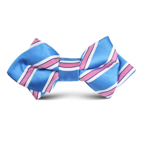 Light Blue with Pink Stripes Kids Diamond Bow Tie