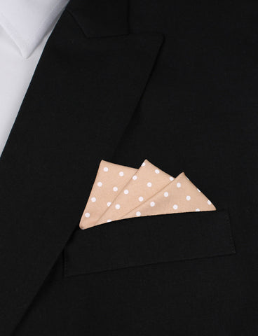 Light Brown with White Polka Dots Cotton Pocket Square