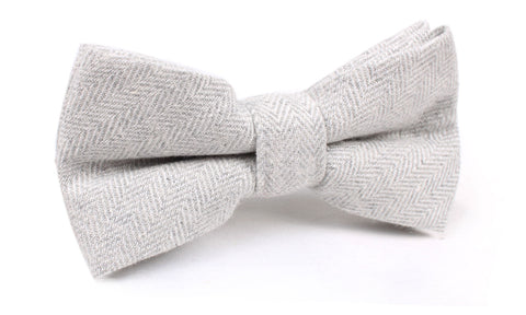 Light Grey Herringbone Linen Bow Tie