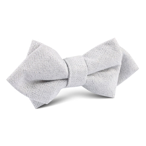 Light Grey Herringbone Linen Diamond Bow Tie