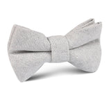 Light Grey Herringbone Linen Kids Bow Tie