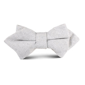 Light Grey Herringbone Linen Kids Diamond Bow Tie
